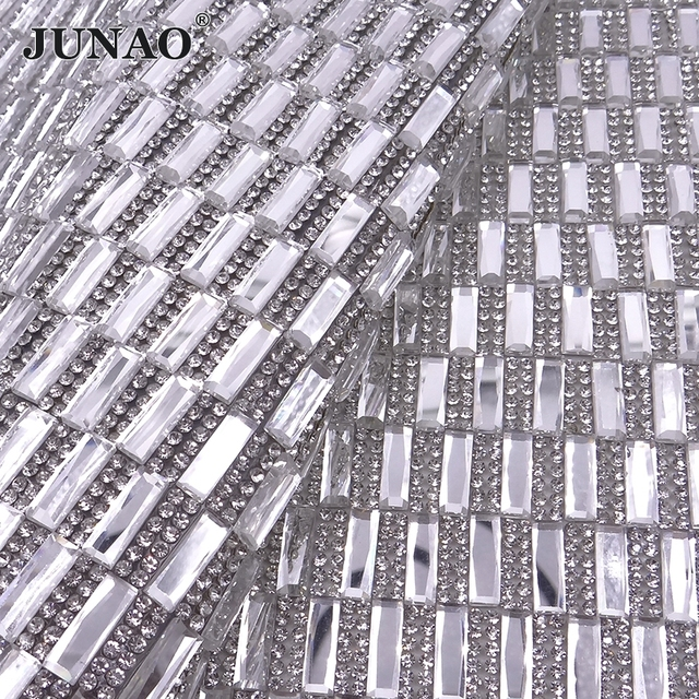 JUNAO 24 40cm Hotfix Clear Black Glass Rhinestones Mesh Trim Crystal Fabric  Appliques Iron On Strass Banding for DIY Dress Shoes 05ee4fb540e8