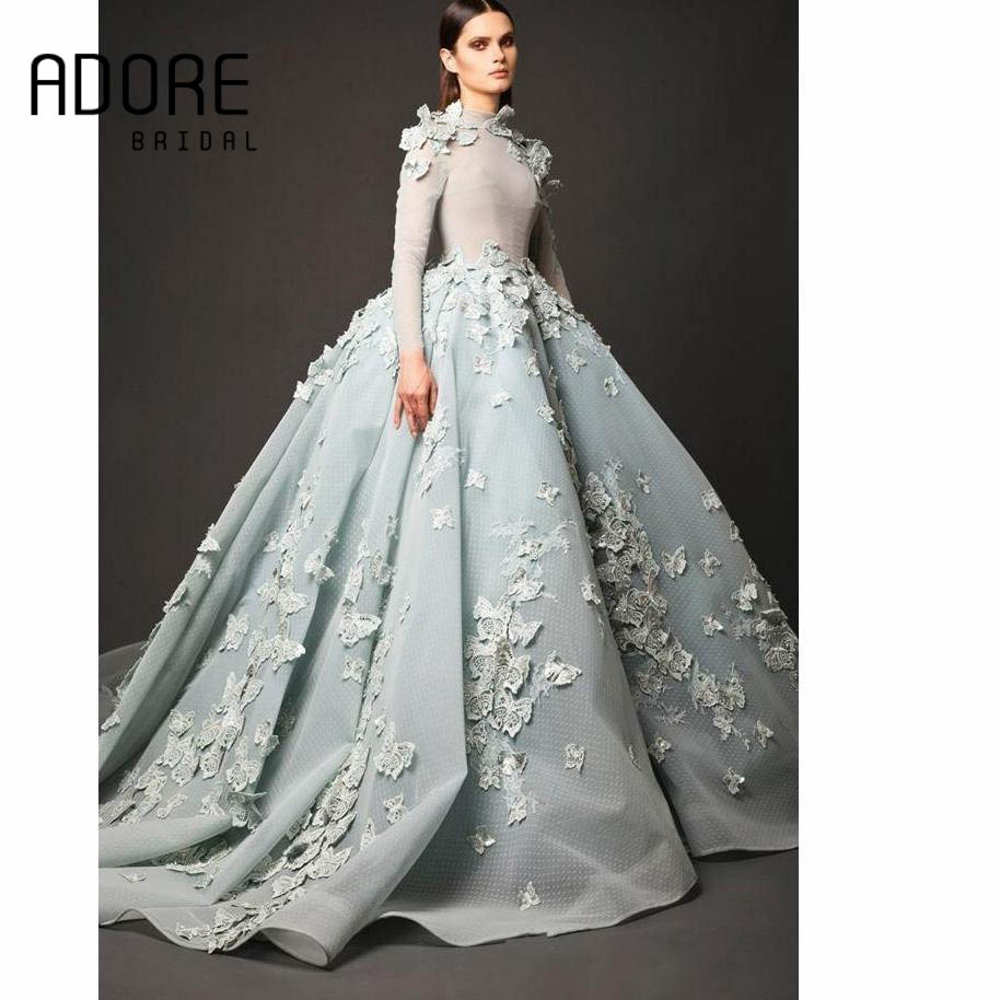 74231fa04e Elie Saab Baby Blue A line Elegant Long Sleeves Evening Dress High ...