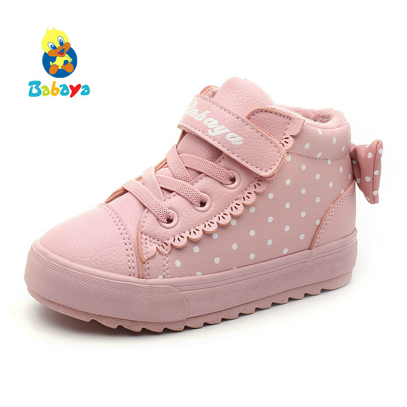Children Shoes Girl 2018 Winter New Increase Down Thickening Casual Shoes Protect Warm Winter Snowfield Cotton Boots-in Sneakers from Mother & Kids