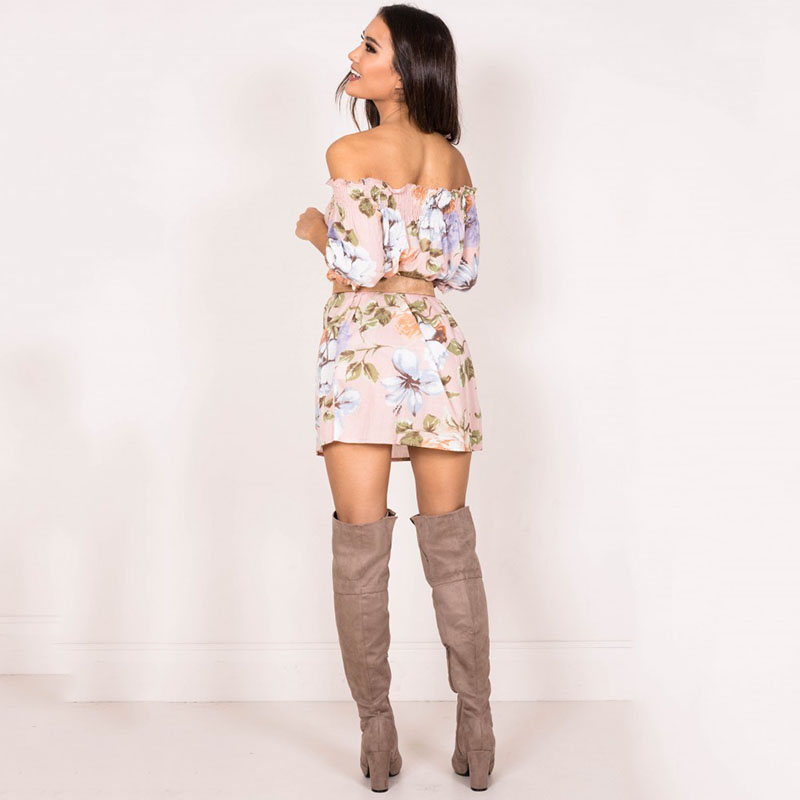 Women Dress 2017 Summer Sexy Mini Dresses Off Shoulder Slash Neck Butterfly Sleeve Boho Cothing Floral Dress Party Beach Style