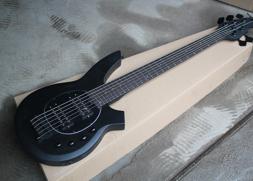 buy factory custom 6 strings matte black electric bass guitar with active. Black Bedroom Furniture Sets. Home Design Ideas