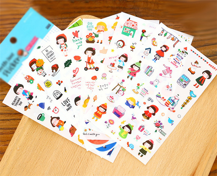 Memo Pads 6 Sheets/set 90*145mm Cute Novelty Gracebell Girls Pvc Stickers Diary Sticker Scrapbook Decoration Pvc Stationery Skilful Manufacture Office & School Supplies
