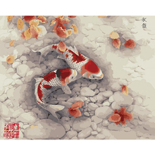 painting by numbers Frameless hand painted modular picture diy digital oil painting Two goldfish the paintings on the wall40*50