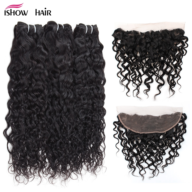 Ishow Brazilian Water Wave Bundles with Frontal 3 Bundles Human Hair Bundles With Closure Frontal Non Remy Ear To Ear Closure