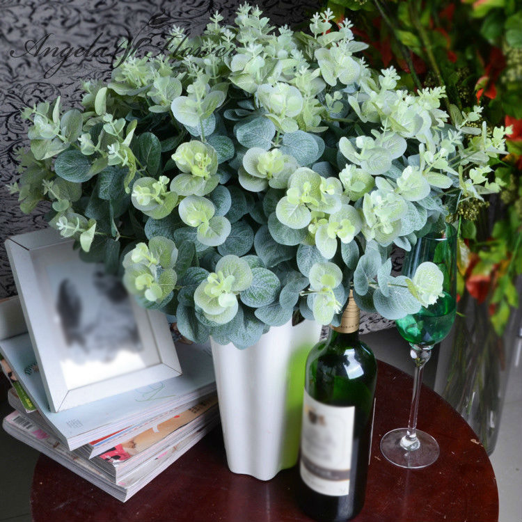 NHBR 3 bouquet/lot artificial eucalyptus leaf Green plant branches ...