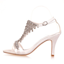 Creativesugar Sexy lady T shape strap high heel sandals rhinestone fringe summer satin dress shoes wedding party sparkle heels