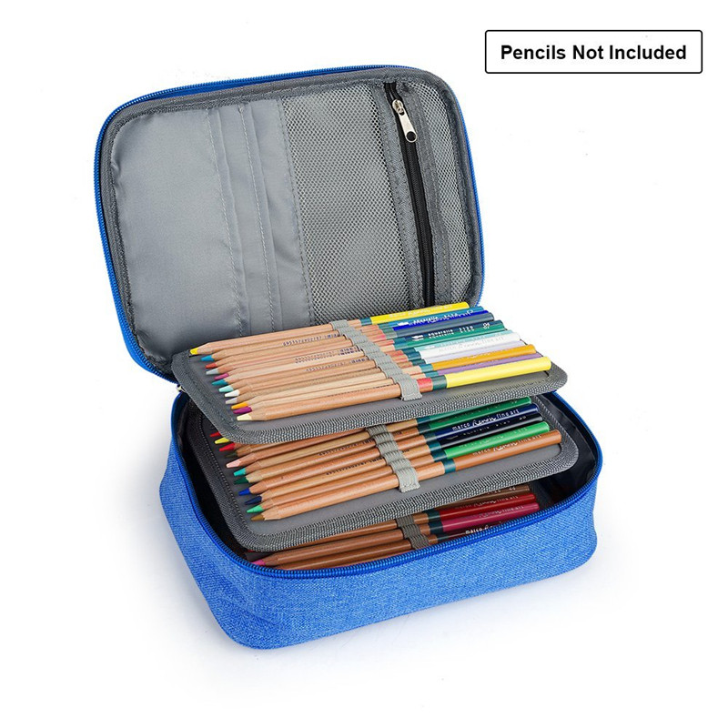 OLike 72 Holder Pencils Case Canvas 4 Layer Portable Large Capacity Pencil Bag For school & office Colored Pencils Art Supplies olike 150 slots pencil case canvas pencils case large capacity portable pencil bag for school colored gel pen bag art supplies