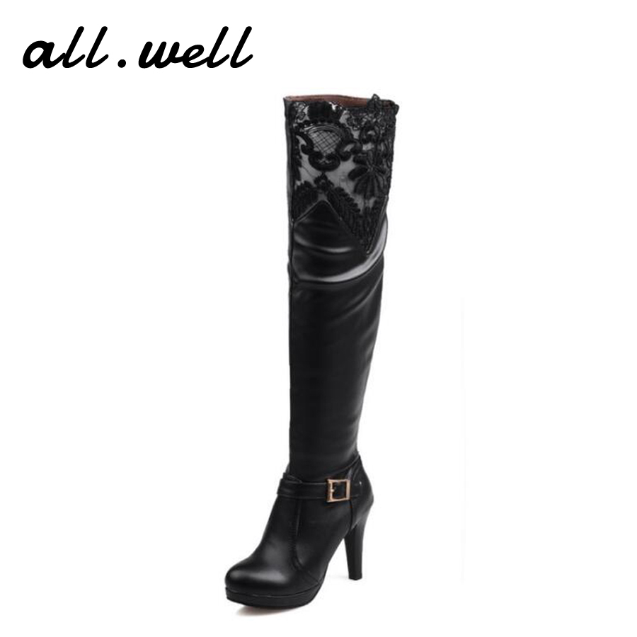 ФОТО Lace Thin Heels Soft Leather High Riding Boots Over The Knee Sexy Black Women Boots Winter Warm For Woman High Heel Long Boots