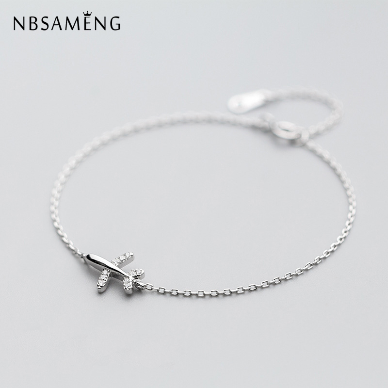 цена NBSAMENG 925 Sterling Silver Bracelet Crystal Aircraft airplane Plane Bracelets & Bangles Adjustable For Women Gift Jewelry