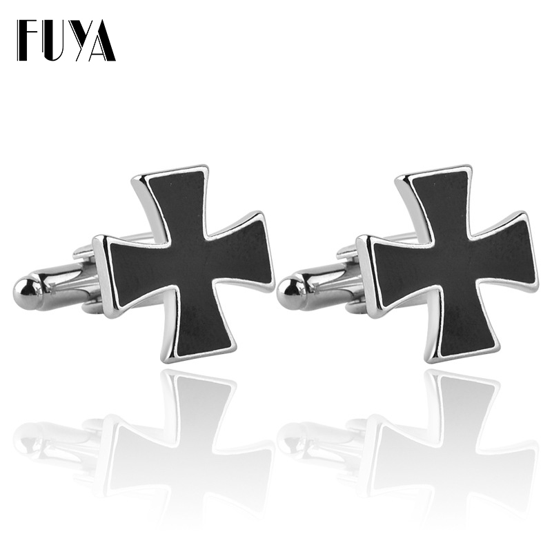 Simple Cross Shaped Jesus Christian Twins Cufflinks Mens Shirt Gifts High Quality Blue Black Cufflinks For Mens Buttons Jewelry