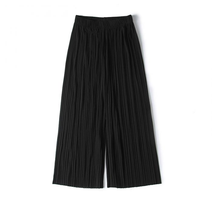Women Chiffon Loose Pants High Waist Ruffled Hem Thin Pleated Trumpet Casual Trousers NYZ Shop 7