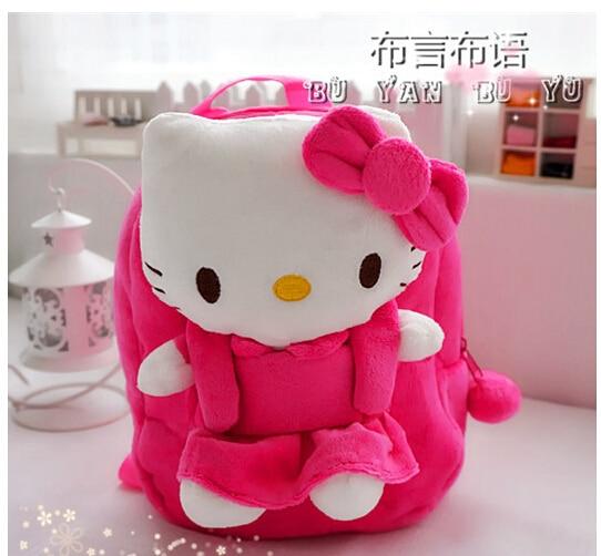 Gift for baby 1pc 25cm stereo anime hello kitty bowknot plush doll cute cool children girl backpacks Satchel shoulder bag