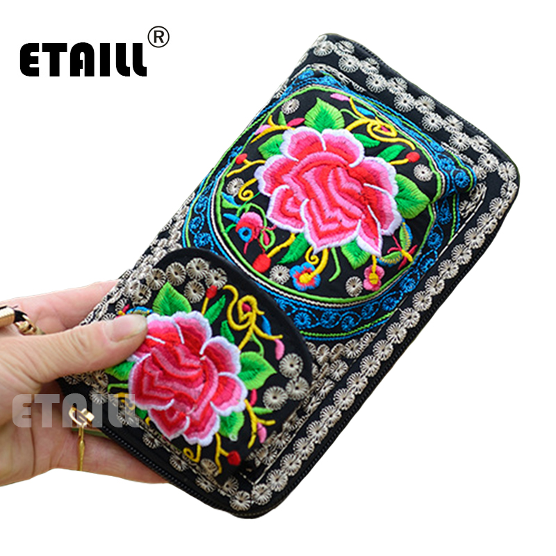 Ethnic Embroider Purse Wallet Clutch Bag Card Coin Holder Boho Indian Embroidered Phone Bag Brand Wallet Logo Monederos Etnicos womens wallet card holder coin purse clutch bag handbag lightweight portable and fashionable with famous brand