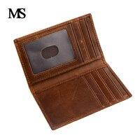 Crazy Horse Leather Men ID Credit Card Holder Wallet Vintage Genuine Leather Cowhide Short Men S