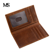 Crazy Horse Leather Men ID Credit Card Holder Wallet Vintage Genuine Leather Cowhide Short Men S