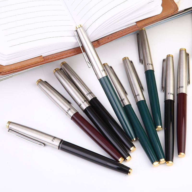 10PCS Hero 329 Classic Fountain Pen Set Vintage Stainless Steel Cap Authentic Quality Extra Fine 0.38 Ink Writing Gift