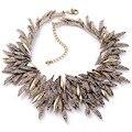 Новый Дизайн Роскошные Преувеличены Многослойные Геометрия Кристалл Листьев Мода Большой Ожерелье Для Женщин Оптовой Продажи Фабрики