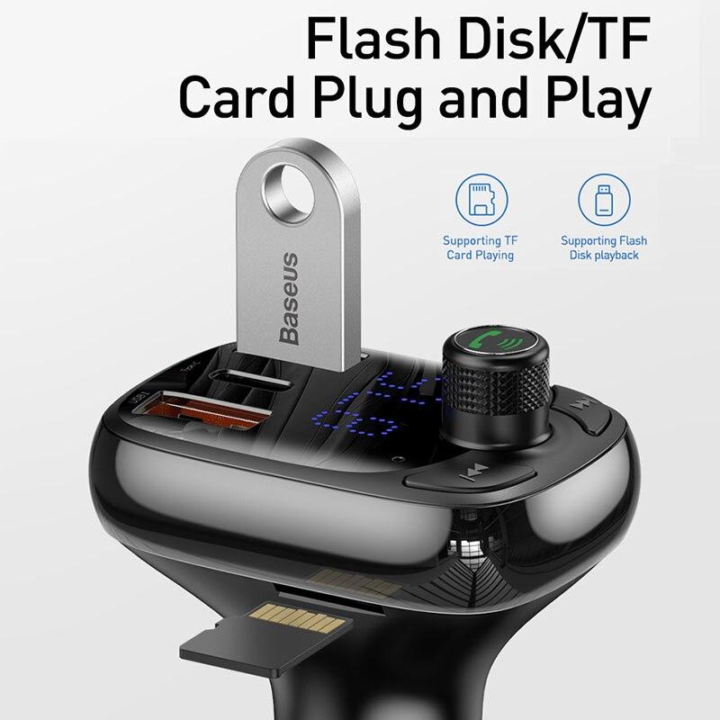 Image 3 - Baseus FM トランスミッタ変調器の Bluetooth 5.0 ハンズフリーカーキットオーディオ MP3 プレーヤー  PPS QC3.0 QC4.0 5A 高速車の自動車充電器    グループ上の 自動車
