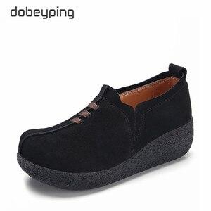 Image 1 - Dobeyping אביב סתיו נשים נעלי פרה זמש עור אישה של דירות עבה בלעדי נשי פלטפורמה מזדמנים גבירותיי סניקרס
