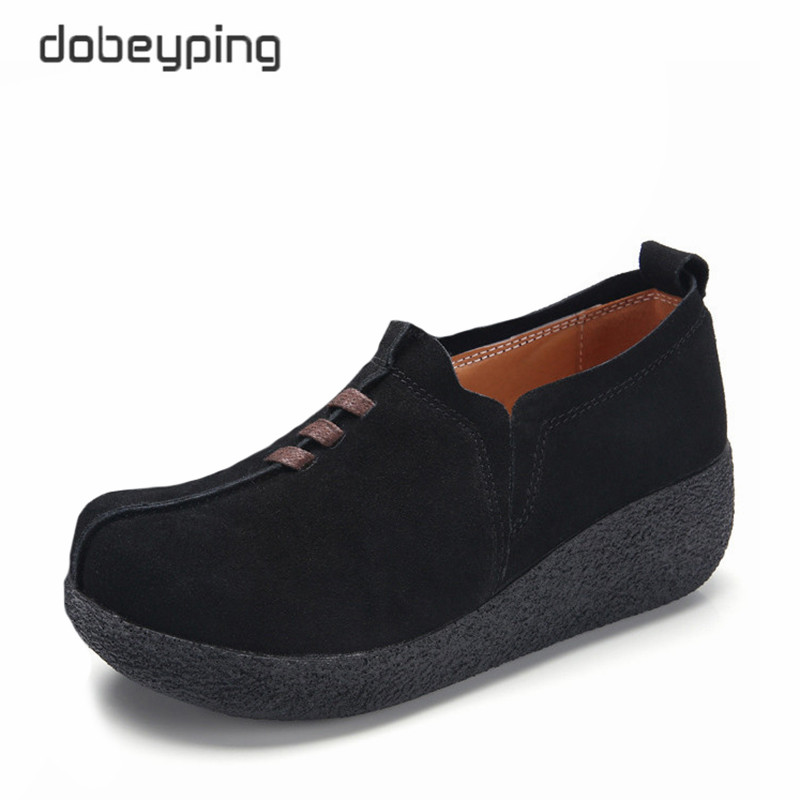 dobeyping Spring Autumn Women Shoes Cow   Suede     Leather   Woman's Flats Thick Sole Female Loafers Casual Platform Ladies Sneakers