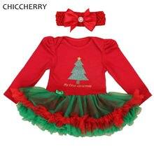 Mon Premier Noël Costumes pour Enfants Vêtements À Manches Longues Bébé Fille Robe Bandeau Dentelle Tutu Filles De Noël Tenues Boutique
