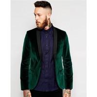New Arrival Groomsmen Groom Tuxedos Velvet Dark Green Coat (Jacket+Pants) Men Suits Wedding Party Prom Best Man Wear Suits 2017