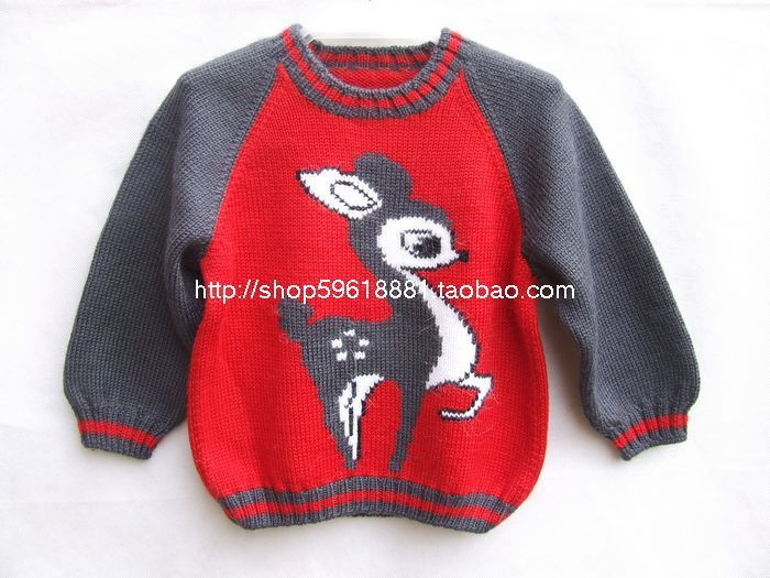 Hand Knitted Wool Pullover Sweater For Baby Boy Girl 3years Children