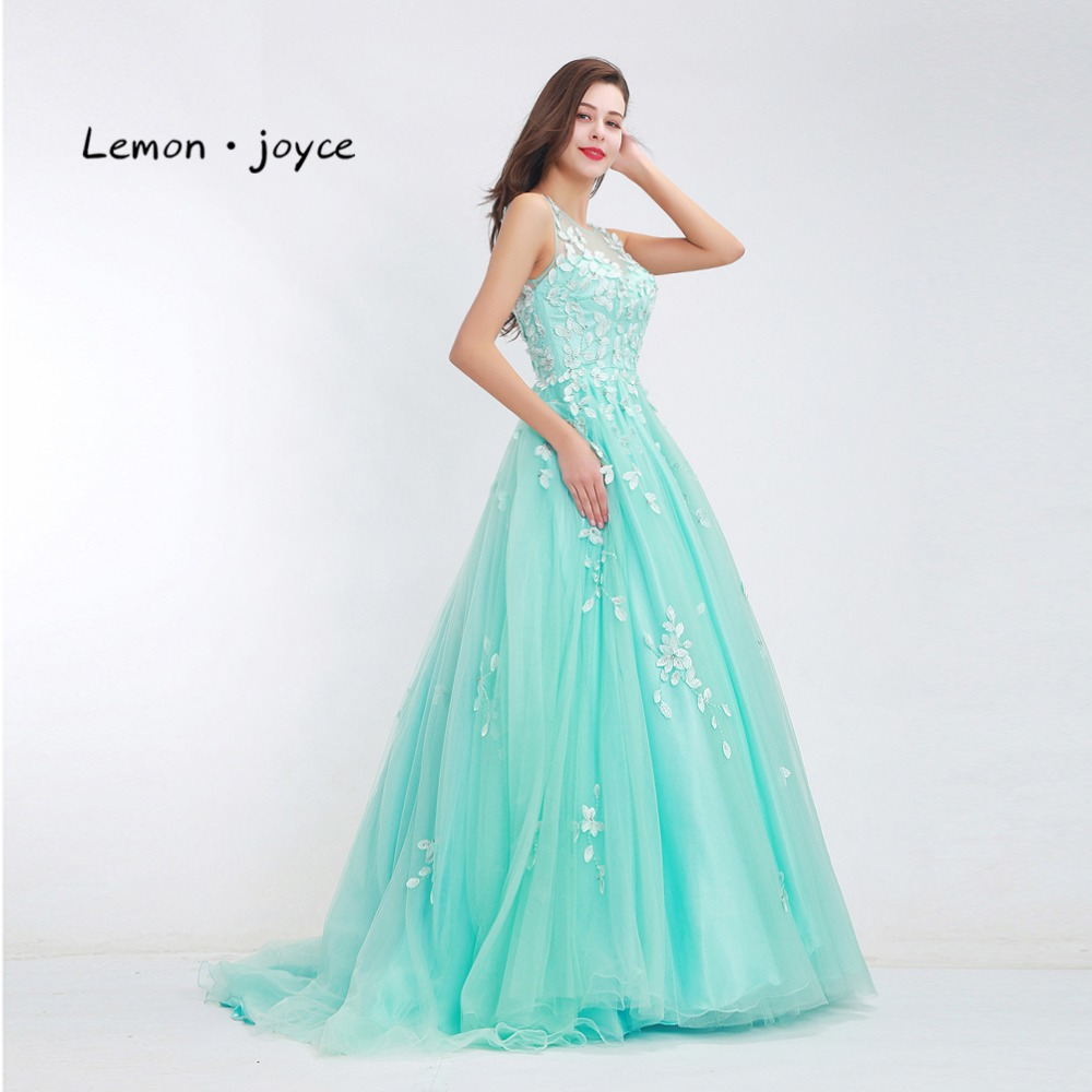 Elegant Prom Dresses Long 2018 New O neck Appliques Illusion Floor ...