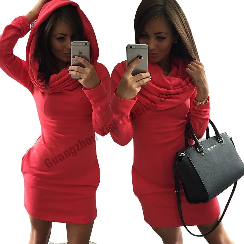 women long sleeve dress fashionable womens dresses tracksuit 2017 autumn winter women hoodies sweatshirts bodycon dress