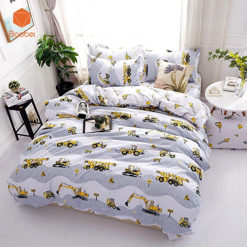 Cartoon excavator Soft comforter bedding sets linens Pillowcase Printed Polyester Duvet Cover Set Full Queen King