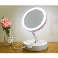 2018 Newly Foldable LED mirror professional 10X magnifying mirrors Tri fold Desktop mirror make up tool with storage box