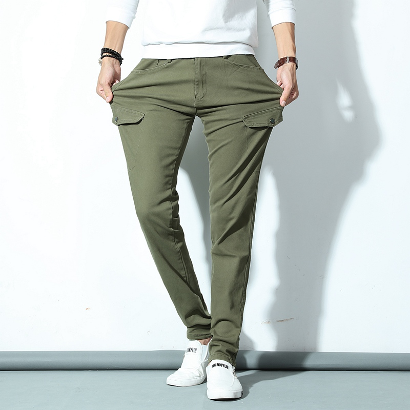 Army Green Men's Skinny Denim Jeans Solid Pencil Pants Men Elastic Long Jeans New Fashion Male Slim Casual Jeans Cowboy Trousers new men flower print skinny jeans fashion denim pencil trousers 0931