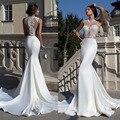 Blanco largo sirena vestido De Noche 2015 recién llegado De elegantes Appliques del cordón Sexy más mujeres del tamaño Vestidos formales Vestidos De Noche
