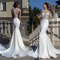White Long Mermaid Evening Dress 2015 New Arrival Elegant Sexy Lace Appliques Plus Size Women Formal Dresses Vestidos De Noche