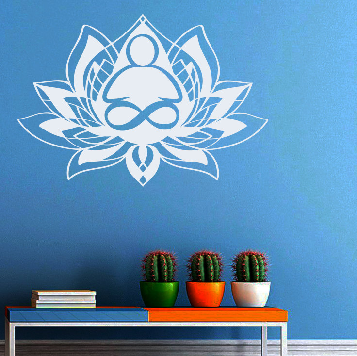 Removable Bohemian Lotus Flower Wall Sticker Mandala Wall Decal Yoga Studio Decoration Wallpaper Religious pegatinas NY 283 in Wall Stickers from Home Garden