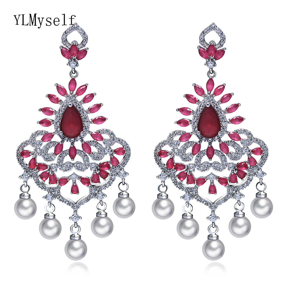New look large pearl earrings Red crystal charming jewelry women's party accessories luxury big dangling earring