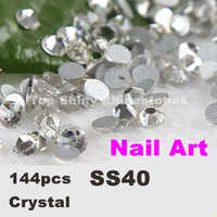 Super deal Shiny non hotfix rhinestone Clear Crystal 144pcs ss40 (8.4-8.7mm) White Flat Back Nail Art Non Hotfix Rhinestones