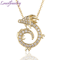 New Arrival Real 18K Yellow Gold China Dragon Diamond Pendant Necklace Fine Jewelry For Men's and Women Gift WP076