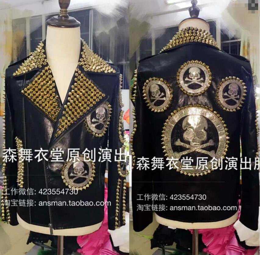 Отличное качество! GD чжи long Для мужчин певцов DJ этап платье Для мужчин череп Заклёпки мотоциклетные кожаные куртки пальто костюмы 5XL Бесплат