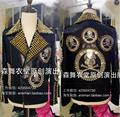 Great Quality ! GD Zhi-long Men Singers DJ Stage Dress Men Skull Rivets Motorcycle Leather Jacket Coat Costumes 5XL free ship