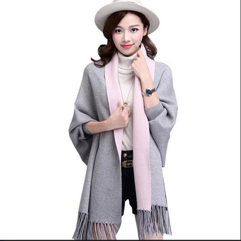 Long section of the women cashmere sweater new autumn and winter cashmere embroidery cardigan swing with Tassel AC124