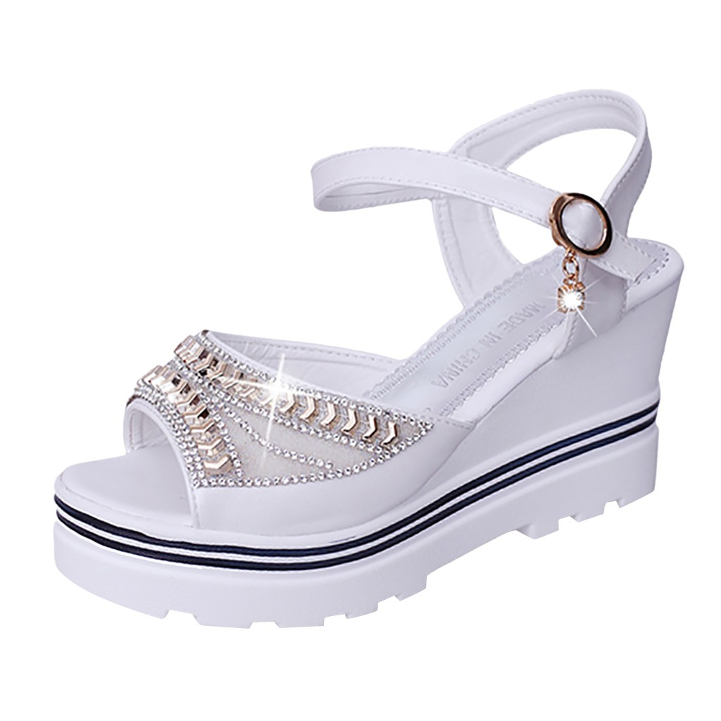 HTB119OZUBLoK1RjSZFuq6xn0XXam - SAGACE Women Thick Bottom Sandals Wedges Sandals Shoes For Women Fashion Women Summer Wedge Heel Open Toe Buckle Strap Sandals