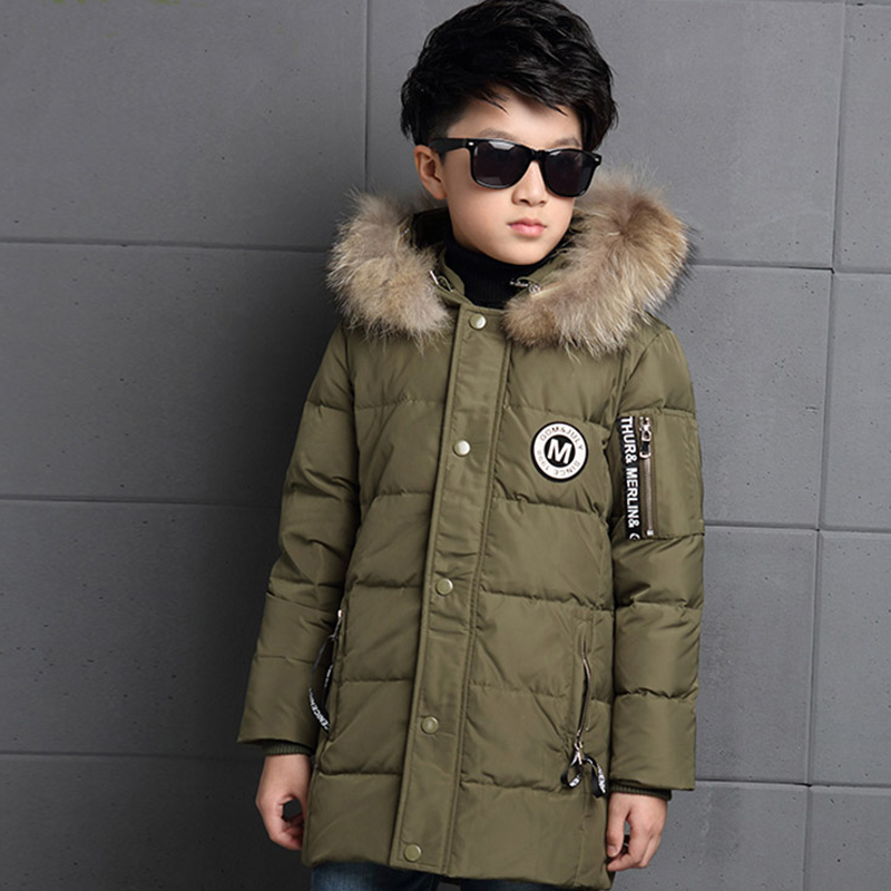 Big Boys Winter Jackets True Fur Hooded Down Coats For Boys Thicken Outerwear Warm Down Parkas Jackets 8 9 10 12 14 15 16 Years plus size women winter jackets lengthened down cotton coats high quality hooded fur collar parkas thick warm jackets okxgnz 1149
