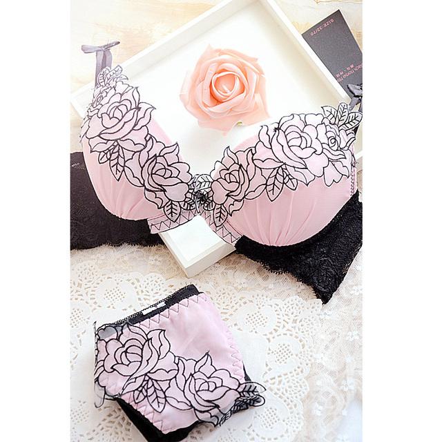 Embroidered Push Up Bra Panties Underwear Lingerie Set