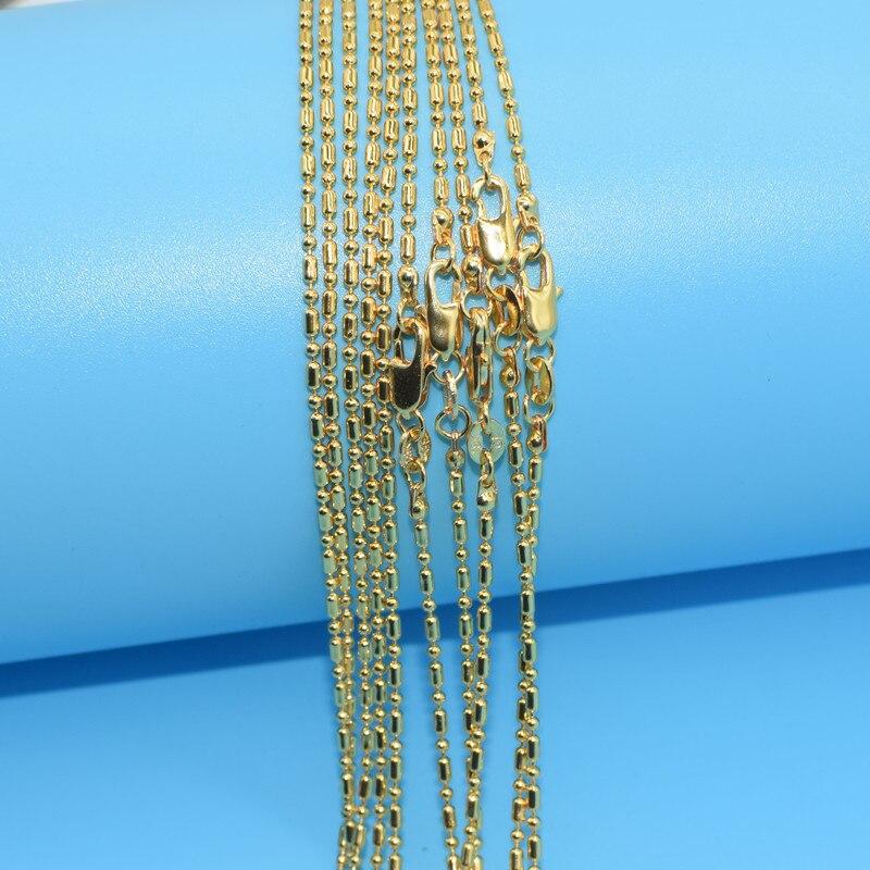 d04830c78004 10 unids oro al por mayor collar de moda joyería columanar bola 2mm collar  16-30 pulgadas cadena colgante