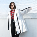 2017 весной новой Корейской крупных женщин размер мода капюшоном ветровка длинные тонкие пальто все матч просто свободно