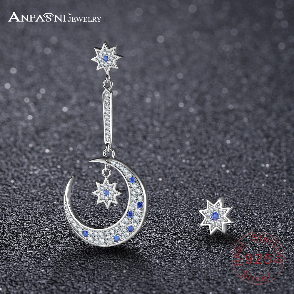 ANFASNI NEW Star And Moon 925 Sterling Silver Luxury Earrings Silver Color Long Earing Christmas Gift For Women Boucle D'oreille silver long chain hanging earrings moon star shape