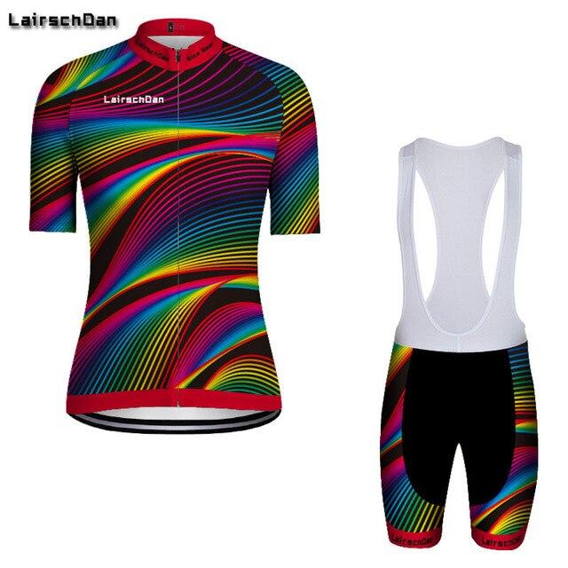SPTGRVO LairschDan Colorido Mulheres Camisa de Ciclismo Set 2019 Pro Verão Bicycl Desgaste Respirável Roupa Mtb Roupas Bicicleta Kit de Roupas