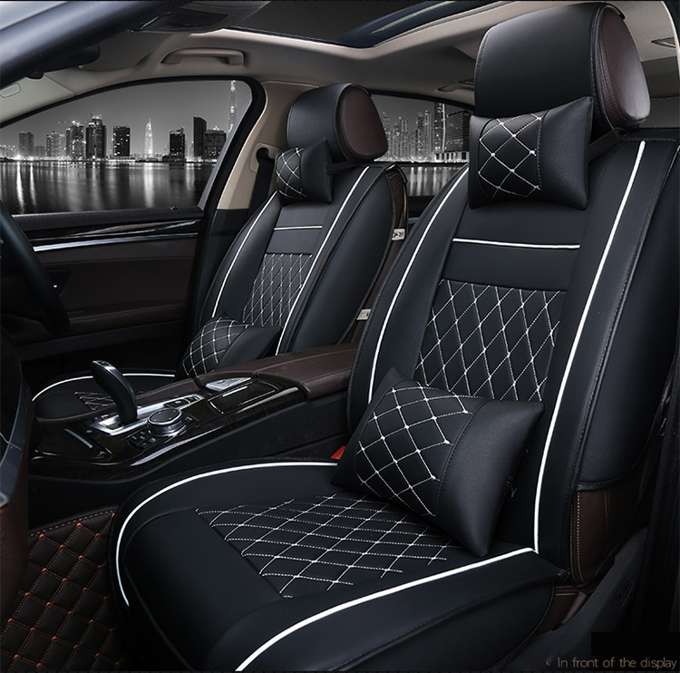 OUZHI easy clean waterproof grid pu leather car seat cover for HYUNDAI i30 KIA RIO 2 3  front and rear universal car seats