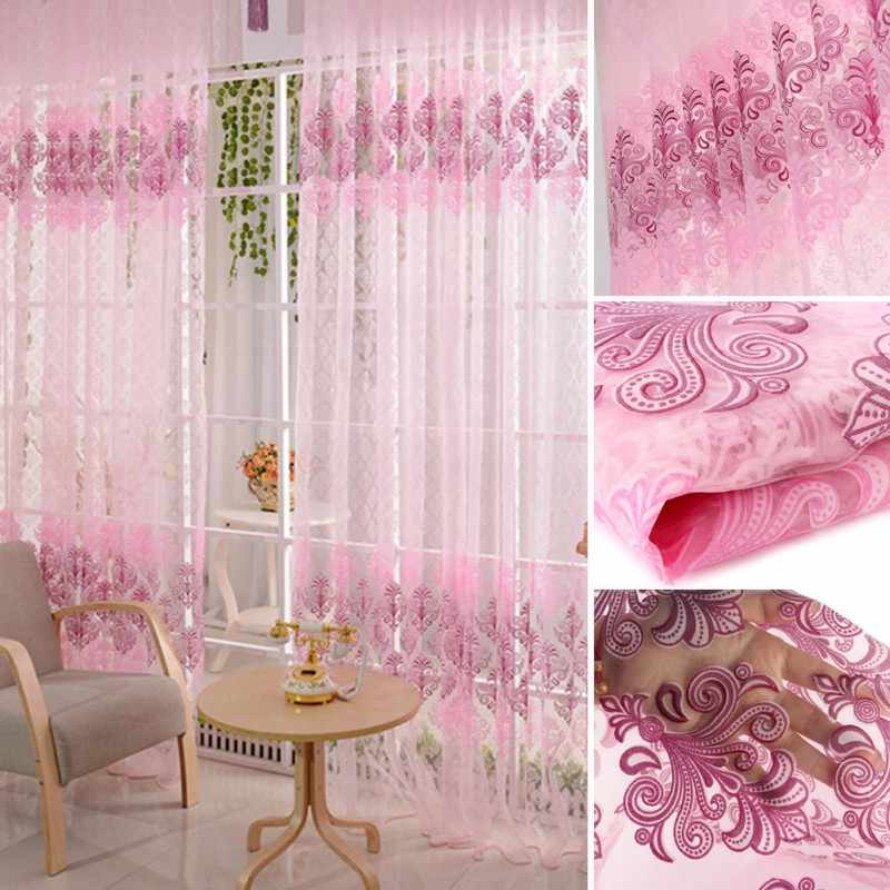New Pink Voile Door Curtain Window Room Drape Divider Totem Floral Sheer Valance